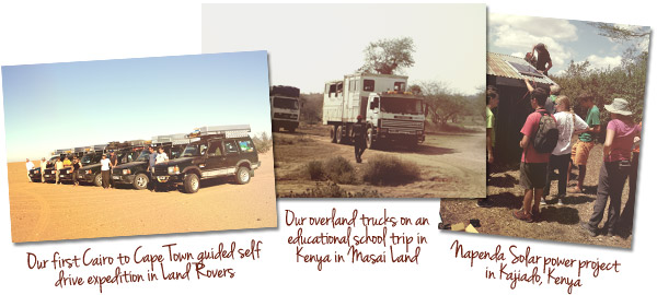 overland trucks on an educational school trip