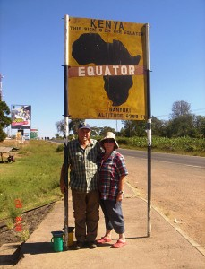 Crossing the equator in Kenya from North to Southern hemisphere