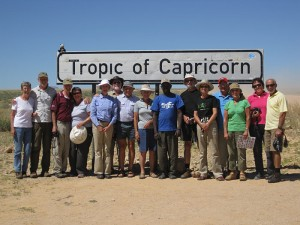 The perfect group photo opportunity as we cross the Tropic of Capricorn in Namibia on our Cairo to Cape expedition