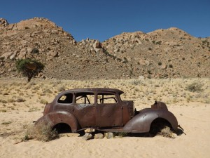 This 1934 Hudson Terraplane was supposedly driven by 2 diamond thieves who were shot down near the small town of Aus not far from Luderitz in Namibia.