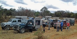 Stopping for lunch on the side of the road in Zambia on our guided self drive safari