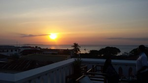 Relax and watch the sun disappear over the Indian Ocean from our hotels roof top restaurant in Stone Town on the magical island of Zanzibar