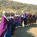 Masai women entertaining us with traditional dance and song in Tanzania