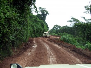 Enjoying a bit of 4x4ing on our way to Livingstonia in Malawi