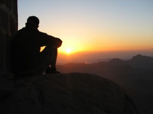 Watching the sunset over the highlands near Axum, Ethiopia on our safari holiday