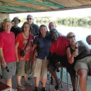 Enjoying a few drinks as we gently cruise down the Zambezi River
