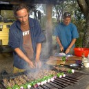 Cooking up a storm! Our safari trucks are fully equipped to cater for large group charters