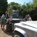Some of our clients testing the suspension on the Land Rover before starting their guided 4x4 Africa safari.