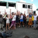 This school group were ecstatic when they saw the overland truck they were travelling Africa in