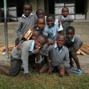 Happy faces as we build 30 new classroom desks for Kongoni Primary School in Kenya