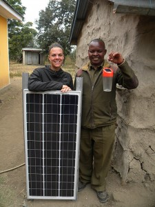 Loti is pretty excited to swap his small solar lantern for a proper solar power system in his home in Meserani, Tanzania