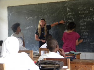 Student groups help teach English at a rural high school in Tanzania
