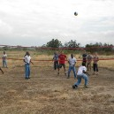 Playing volleyball with students from a local high school on our school trip in Tanzania